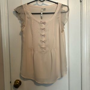 sheer blouse bow buttons